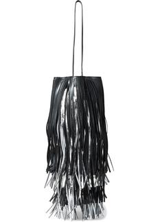 Calvin Klein 205w39nyc Woman Fringed Matte And Metallic Leather Bucket Bag Black
