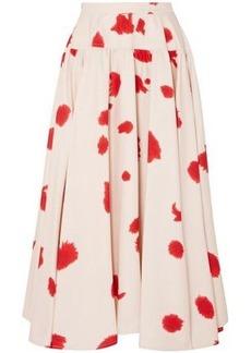 Calvin Klein 205w39nyc Woman Gathered Printed Silk Maxi Skirt Ecru