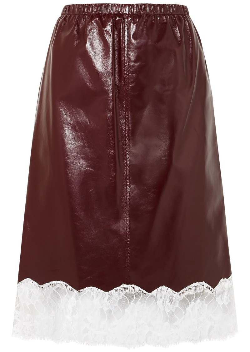 Calvin Klein 205w39nyc Woman Lace-trimmed Leather Skirt Merlot