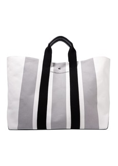 Calvin Klein 205w39nyc Woman Leather-trimmed Striped Canvas Tote Stone