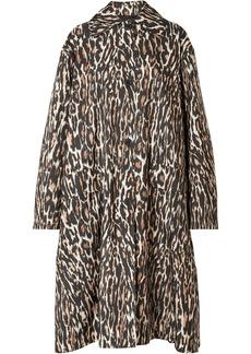 Calvin Klein 205w39nyc Woman Oversized Leopard-print Faille Coat Black