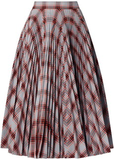 Calvin Klein 205w39nyc Woman Pleated Checked Twill Midi Skirt Gray