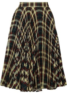 Calvin Klein 205w39nyc Woman Pleated Checked Twill Skirt Multicolor