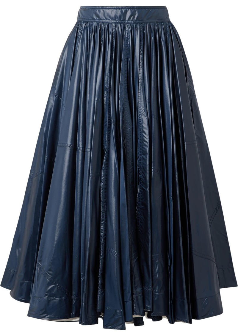 Calvin Klein 205w39nyc Woman Pleated Coated-shell Midi Skirt Storm Blue