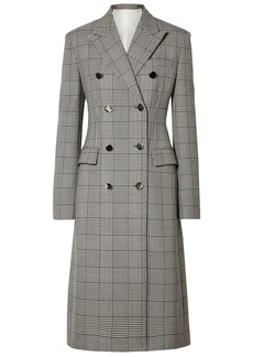 Calvin Klein 205w39nyc Woman Prince Of Wales Checked Wool And Silk-blend Coat Gray