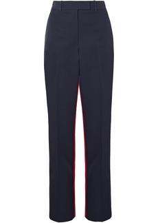 Calvin Klein 205w39nyc Woman Two-tone Wool-twill Straight-leg Pants Midnight Blue