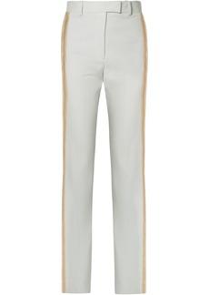 Calvin Klein 205w39nyc Woman Striped Wool-twill Straight-leg Pants Grey Green