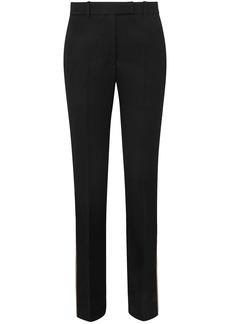 Calvin Klein 205w39nyc Woman Striped Wool-twill Straight-leg Pants Black