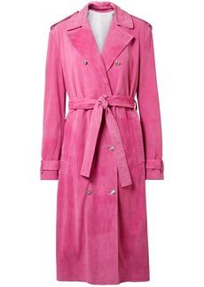 Calvin Klein 205w39nyc Woman Suede Trench Coat Fuchsia