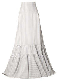 Calvin Klein 205w39nyc Woman Tiered Striped Silk And Cotton-blend Maxi Skirt White