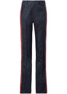 Calvin Klein 205w39nyc Woman Velvet-trimmed High-rise Straight-leg Jeans Dark Denim