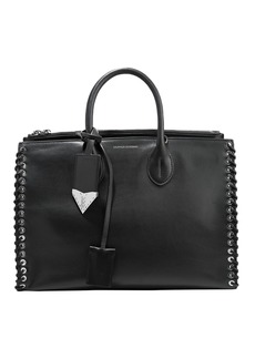Calvin Klein 205w39nyc Woman Whipstitched Leather Tote Black