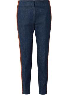 Calvin Klein 205w39nyc Woman Zip-detailed Striped High-rise Slim-leg Jeans Mid Denim
