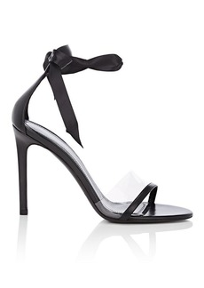 CALVIN KLEIN 205W39NYC Women's Camri Leather & PVC Ankle-Tie Sandals