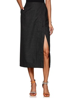 CALVIN KLEIN 205W39NYC Women's Checked Worsted Wool Wrap Skirt
