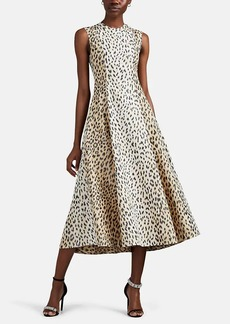 CALVIN KLEIN 205W39NYC Women's Cheetah-Print Silk Faille Midi-Dress