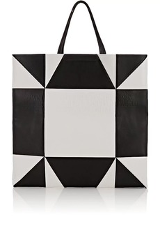 CALVIN KLEIN 205W39NYC Women's Oversized Geometric Leather Tote Bag - Wht.&blk.