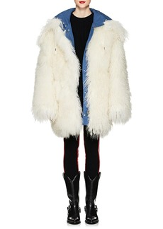CALVIN KLEIN 205W39NYC Women's Reversible Shearling Oversized Coat