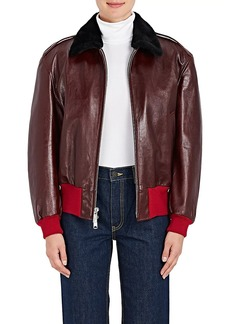 CALVIN KLEIN 205W39NYC Women's Shearling-Lined Leather Bomber Jacket
