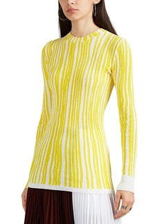 CALVIN KLEIN 205W39NYC Women's Striped Ribbed Cotton-Blend Sweater