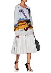 CALVIN KLEIN 205W39NYC Women's Striped Silk-Cotton Tiered Full Skirt
