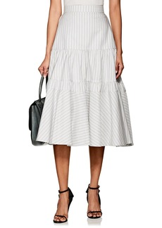 CALVIN KLEIN 205W39NYC Women's Striped Silk-Cotton Tiered Full Skirt