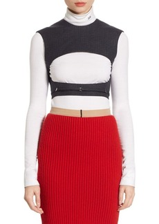 CALVIN KLEIN 205W39NYC Wool Checked Cropped Top