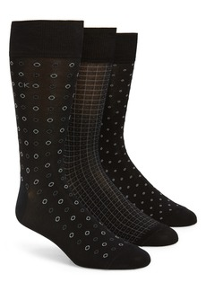 Calvin Klein 3-Pack Mercerized Cotton Blend Socks