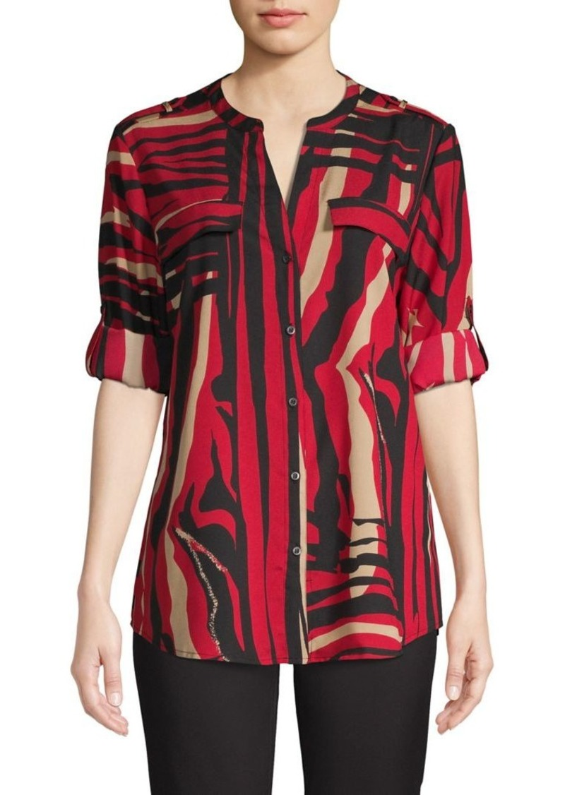 Calvin Klein Abstract-Print Long-Sleeve Shirt