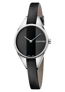 Calvin Klein Achieve Rebel Leather Band Watch, 29mm
