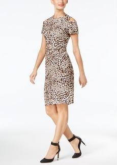 Calvin Klein Animal-Print Cold-Shoulder Sheath Dress
