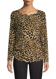 Calvin Klein Animal-Print Long-Sleeve Top