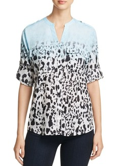 Calvin Klein Animal Print Roll-Sleeve Top