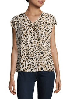 Calvin Klein Animal Printed Short Sleeve Top