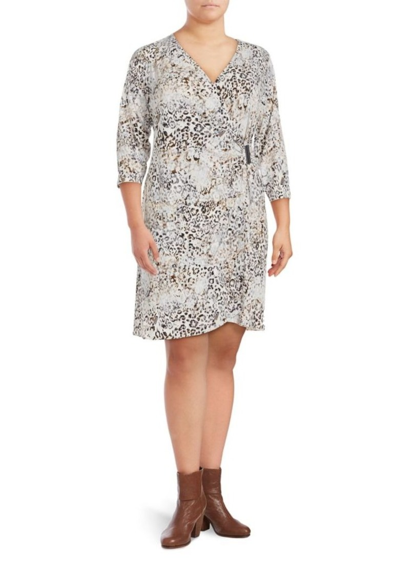 Calvin Klein Animalia Print Three-Quarter Sleeve Dress