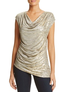 Calvin Klein Asymmetric Metallic Knit Top
