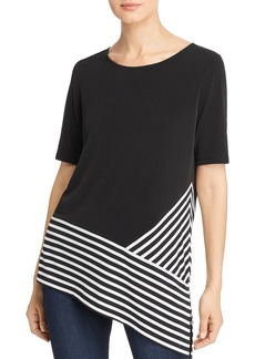 Calvin Klein Asymmetric Striped-Hem Top