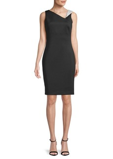 Asymmetric V-Neck Fitted Sheath Dress