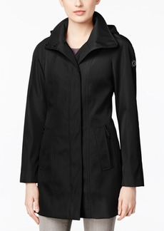 Calvin Klein Asymmetric-Zip Hooded Walker Raincoat