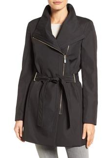 Calvin Klein Asymmetrical Belted Rain Coat