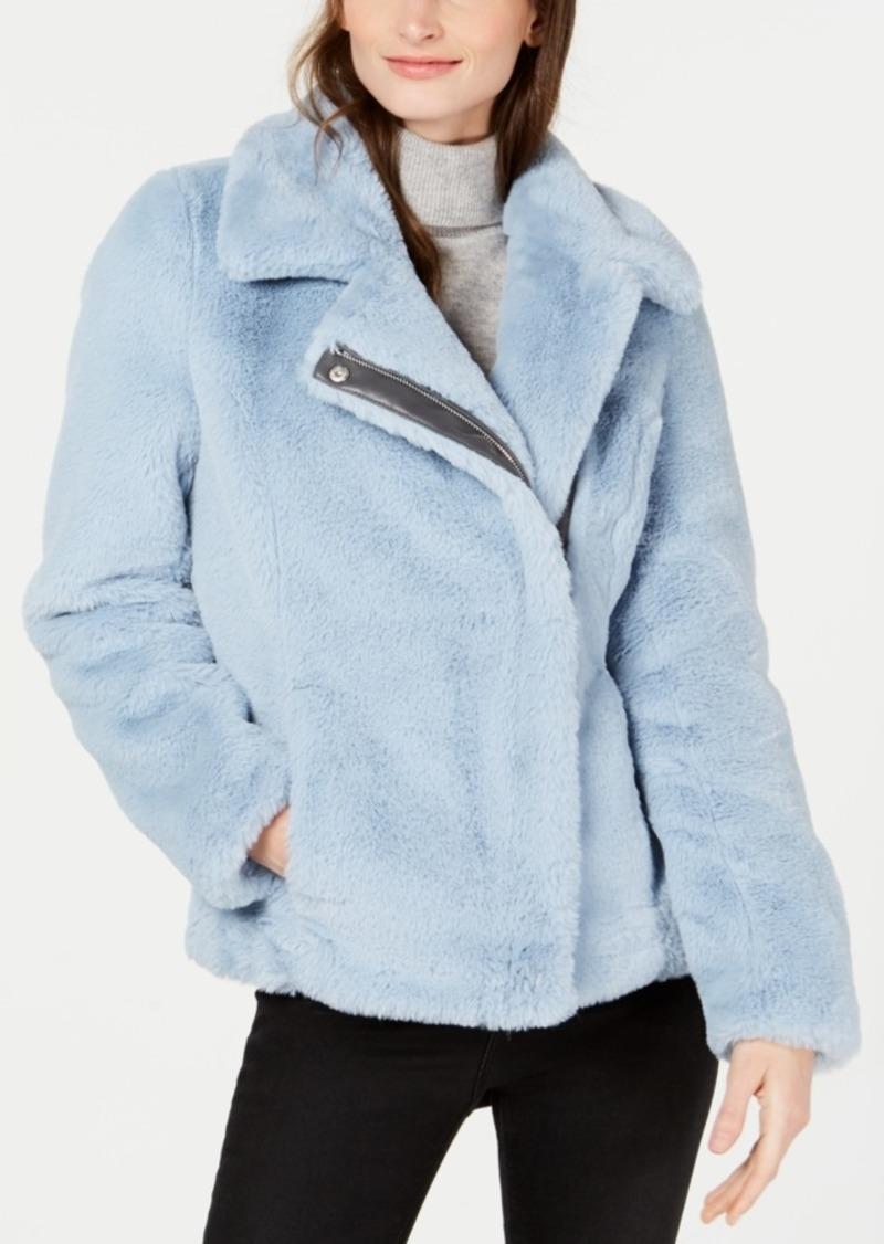 Calvin Klein Asymmetrical Faux-Fur Coat