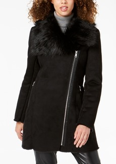 Calvin Klein Asymmetrical Faux-Fur-Collar Coat