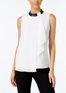 Calvin Klein Asymmetrical Faux-Leather-Trim Blouse