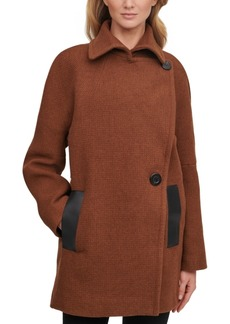 Calvin Klein Asymmetrical Faux-Leather-Trim Peacoat