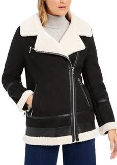 Calvin Klein Asymmetrical Faux-Shearling Moto Coat