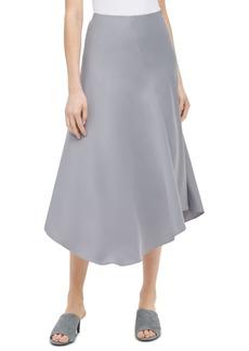 Calvin Klein Asymmetrical-Hem Satin Midi Skirt