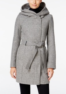 Calvin Klein Asymmetrical Hooded Walker Coat, Only at Macy's
