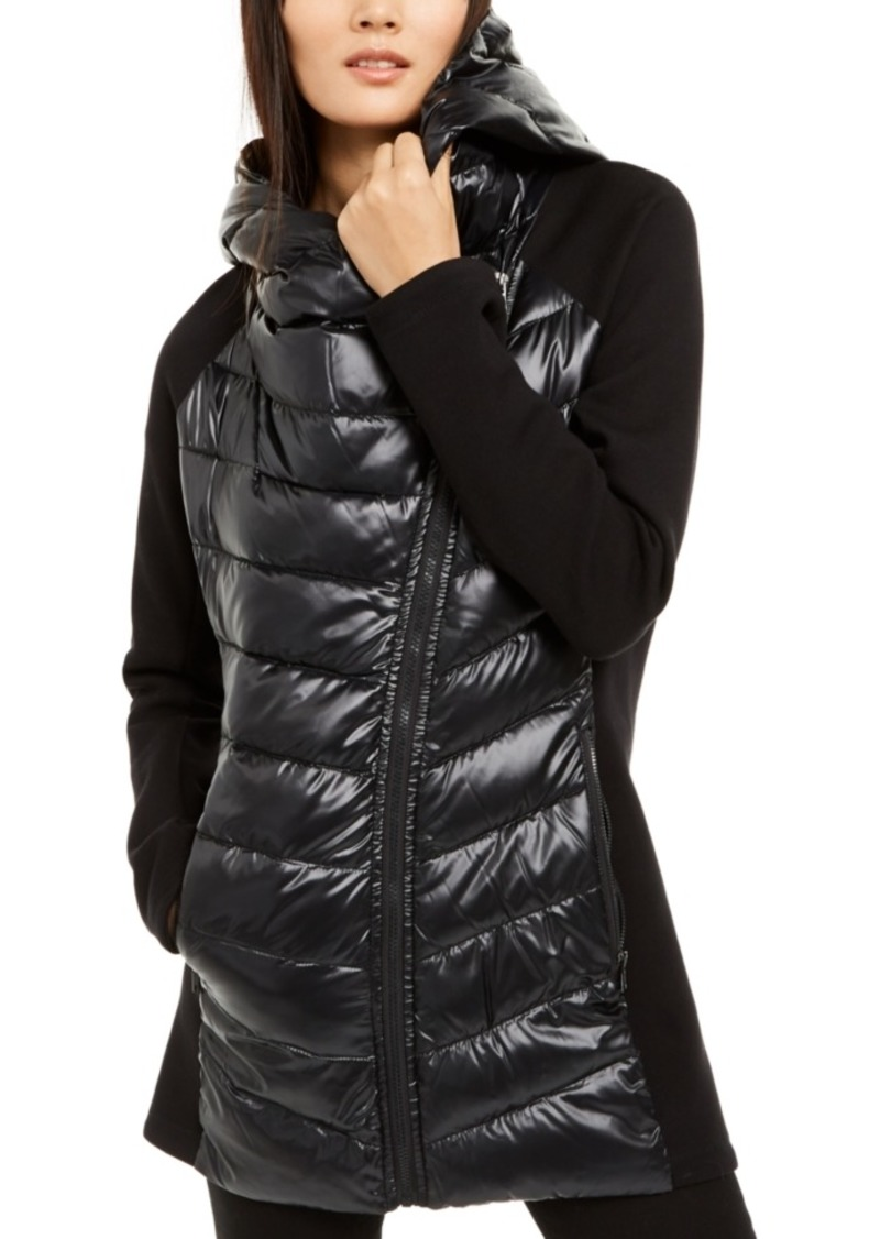Calvin Klein Asymmetrical Mixed-Media Puffer Jacket