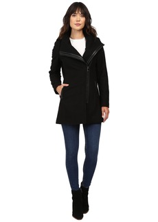 Calvin Klein Asymmetrical PU Trim Hooded Wool with Quilted Liner