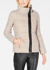 Calvin Klein Asymmetrical Velvet Puffer Coat